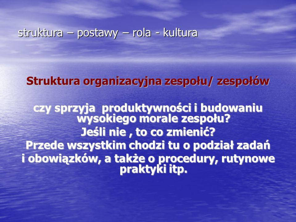 struktura – postawy – rola - kultura Struktura organizacyjna zespołu/ zespołów czy sprzyja produktywności i budowaniu wysokiego morale zespołu? Jeśli