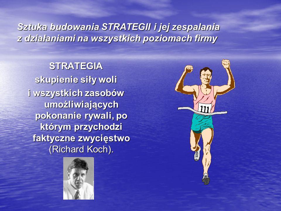 Sztuka budowania STRATEGII i jej zespalania z działaniami na wszystkich poziomach firmy STRATEGIA skupienie siły woli i wszystkich zasobów umożliwiają