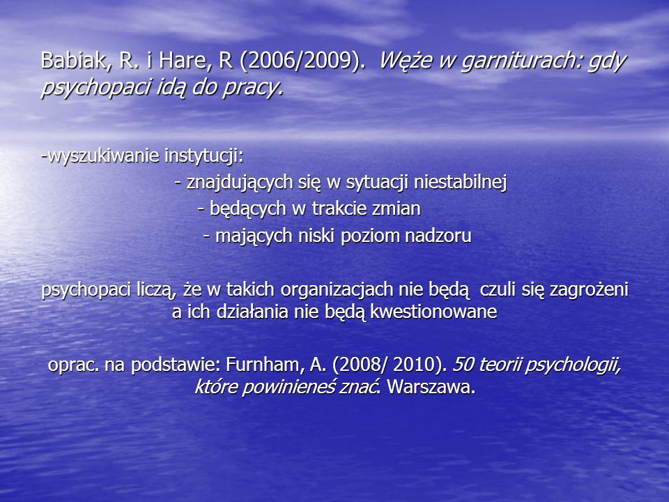 Babiak, R. i Hare, R (2006/2009). Węże w garniturach: gdy psychopaci idą do pracy. -wyszukiwanie instytucji: - znajdujących się w sytuacji niestabilne
