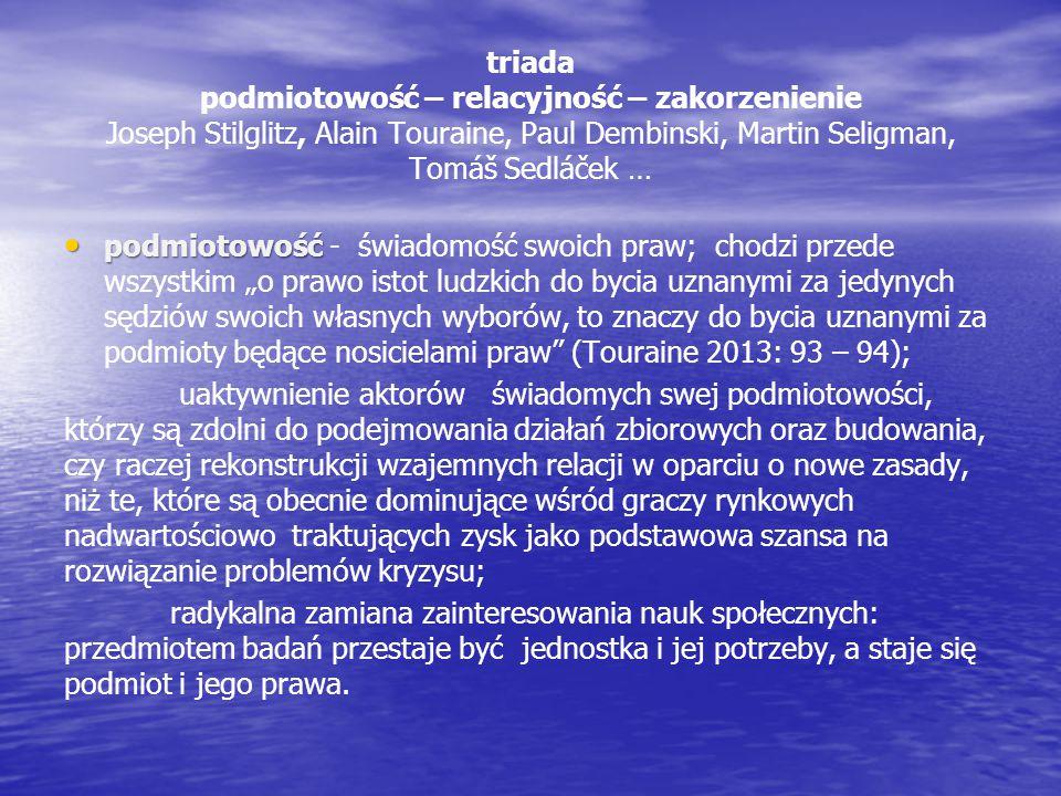 triada podmiotowość – relacyjność – zakorzenienie Joseph Stilglitz, Alain Touraine, Paul Dembinski, Martin Seligman, Tomáš Sedláček … podmiotowość pod