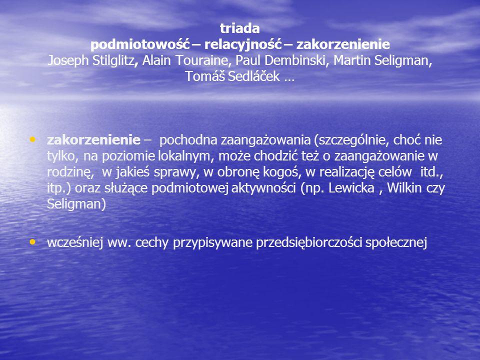 triada podmiotowość – relacyjność – zakorzenienie Joseph Stilglitz, Alain Touraine, Paul Dembinski, Martin Seligman, Tomáš Sedláček … zakorzenienie –