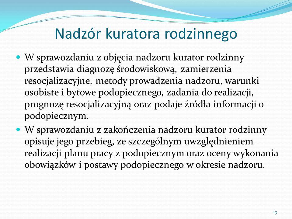 Nadzór kuratora rodzinnego W sprawozdaniu z objęcia nadzoru kurator rodzinny przedstawia diagnozę środowiskową, zamierzenia resocjalizacyjne, metody p