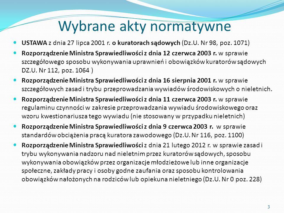 Wybrane akty normatywne USTAWA z dnia 27 lipca 2001 r. o kuratorach sądowych (Dz.U. Nr 98, poz. 1071) Rozporządzenie Ministra Sprawiedliwości z dnia 1