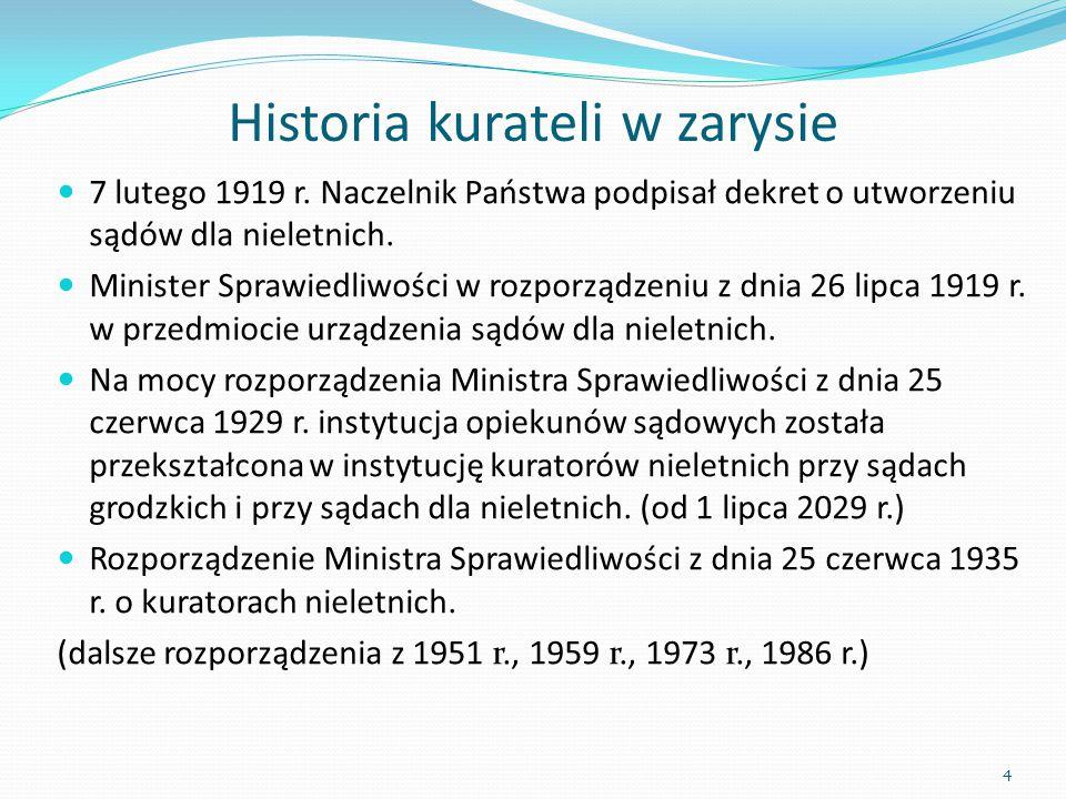 Historia kurateli w zarysie 7 lutego 1919 r. Naczelnik Państwa podpisał dekret o utworzeniu sądów dla nieletnich. Minister Sprawiedliwości w rozporząd