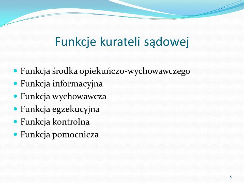 Funkcje kurateli sądowej Funkcja środka opiekuńczo-wychowawczego Funkcja informacyjna Funkcja wychowawcza Funkcja egzekucyjna Funkcja kontrolna Funkcj