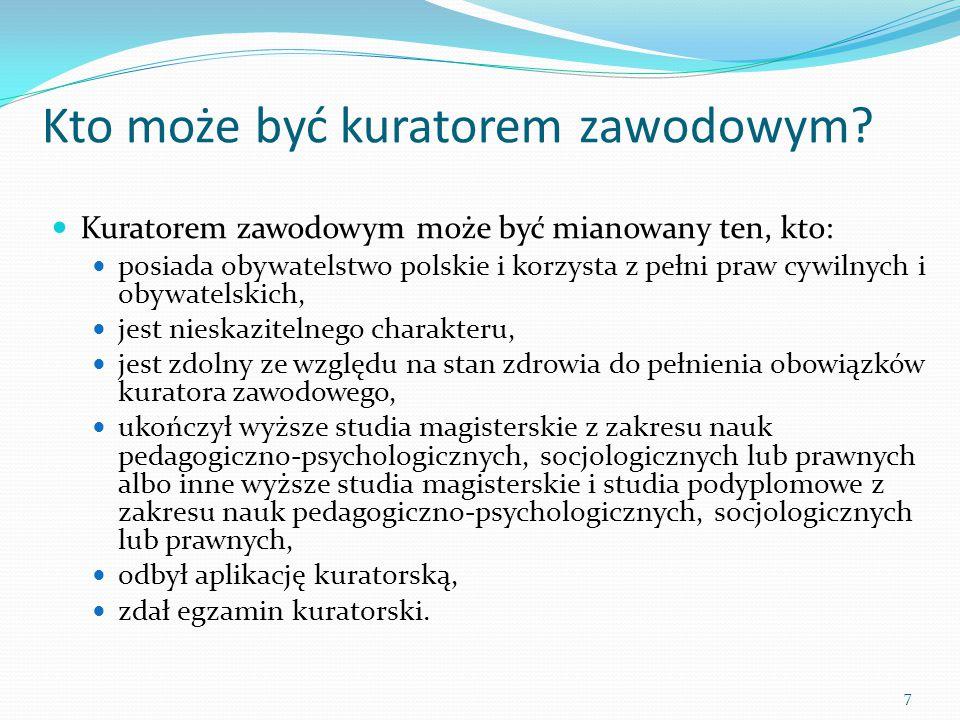 Kto może być kuratorem zawodowym? Kuratorem zawodowym może być mianowany ten, kto: posiada obywatelstwo polskie i korzysta z pełni praw cywilnych i ob