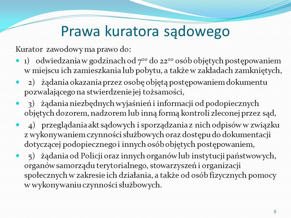 Prawa kuratora sądowego Kurator zawodowy ma prawo do: 1) odwiedzania w godzinach od 7 00 do 22 00 osób objętych postępowaniem w miejscu ich zamieszkan