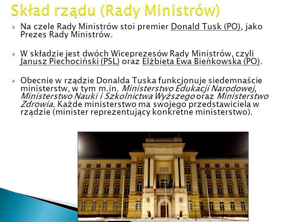 NNa czele Rady Ministrów stoi premier Donald Tusk (PO), jako Prezes Rady Ministrów. WW składzie jest dwóch Wiceprezesów Rady Ministrów, czyli Janu