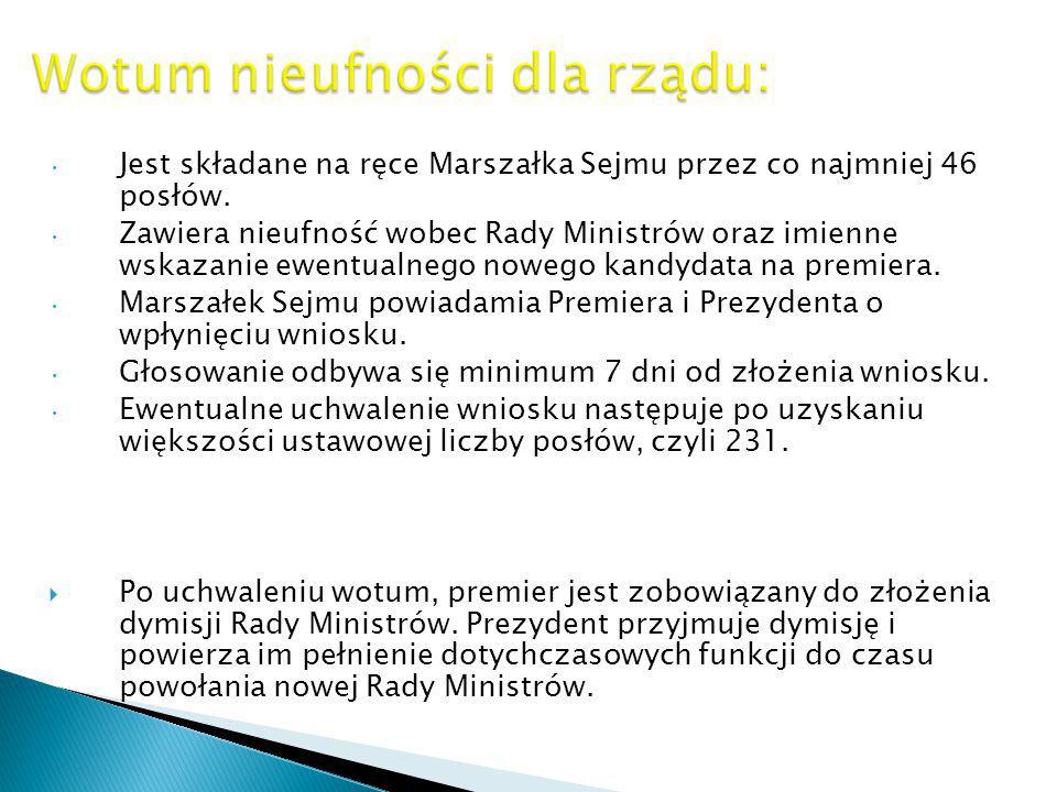 Jest składane na ręce Marszałka Sejmu przez co najmniej 46 posłów. Zawiera nieufność wobec Rady Ministrów oraz imienne wskazanie ewentualnego nowego k