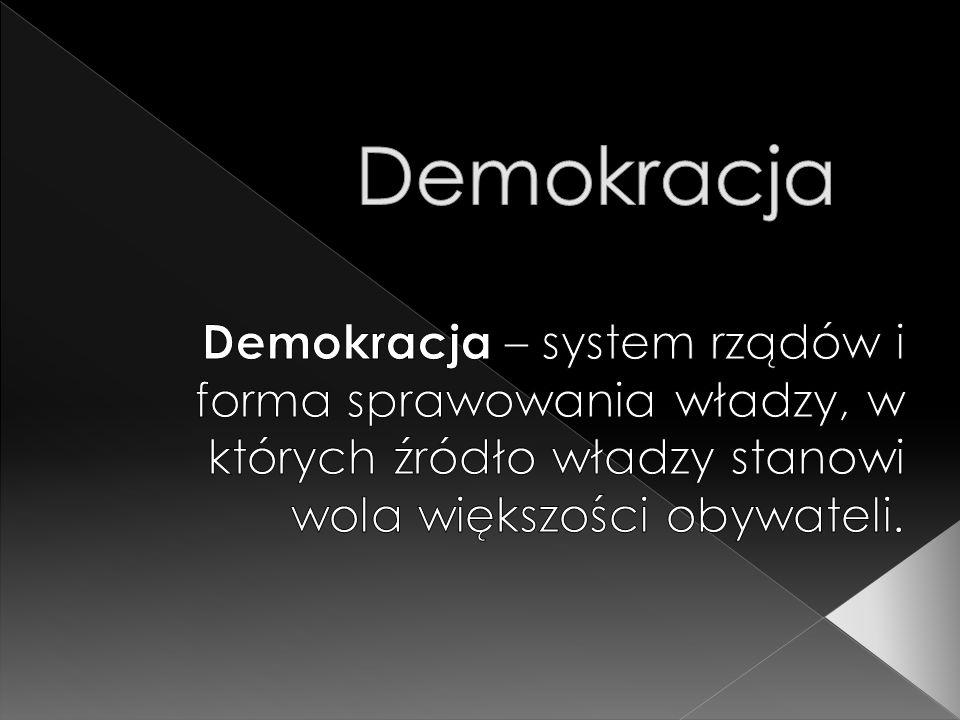  Termin demokracja wywodzi się ze starożytnej myśli politycznej i filozoficznej i pojawił się w po raz pierwszy w Atenach.