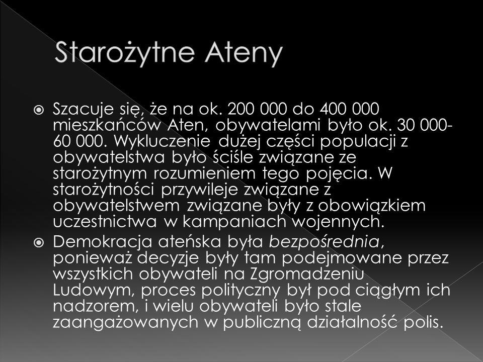  Szacuje się, że na ok.200 000 do 400 000 mieszkańców Aten, obywatelami było ok.