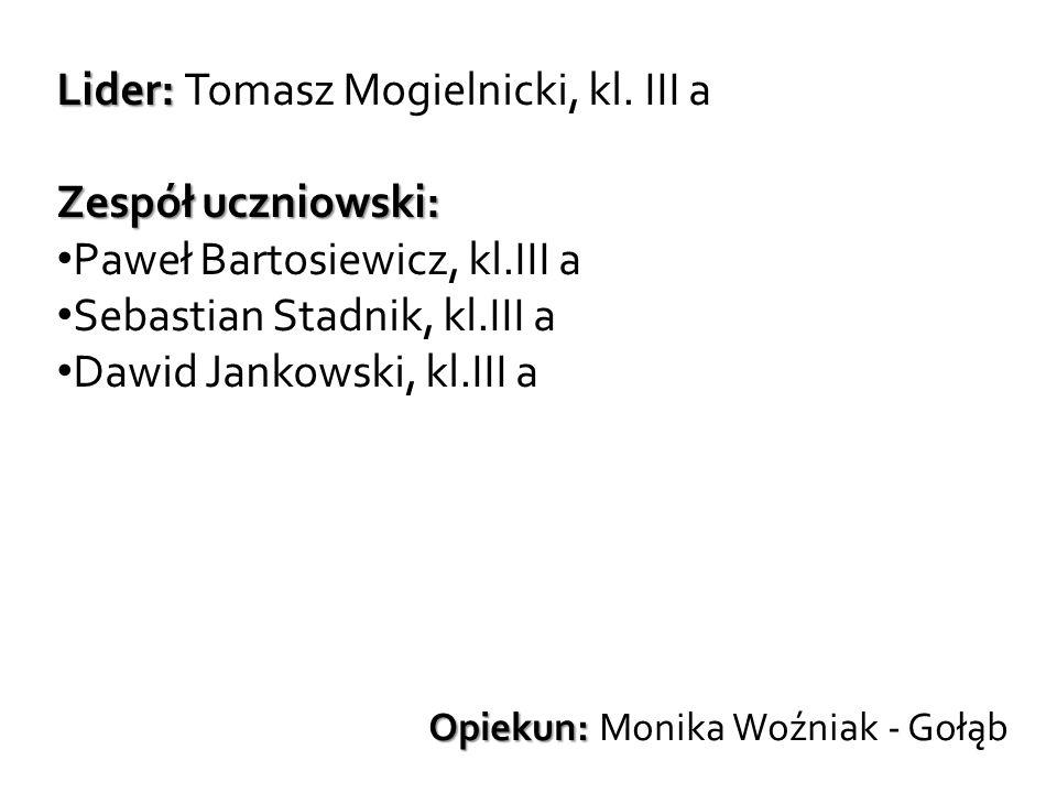 Lider: Lider: Tomasz Mogielnicki, kl. III a Zespół uczniowski: Paweł Bartosiewicz, kl.III a Sebastian Stadnik, kl.III a Dawid Jankowski, kl.III a Opie