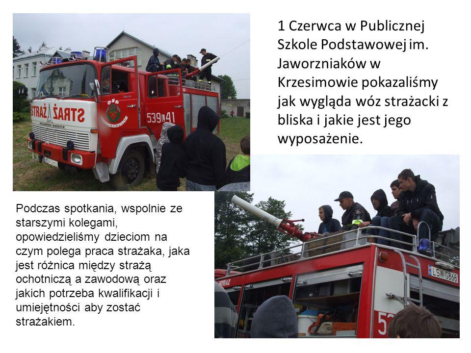 1 Czerwca w Publicznej Szkole Podstawowej im. Jaworzniaków w Krzesimowie pokazaliśmy jak wygląda wóz strażacki z bliska i jakie jest jego wyposażenie.