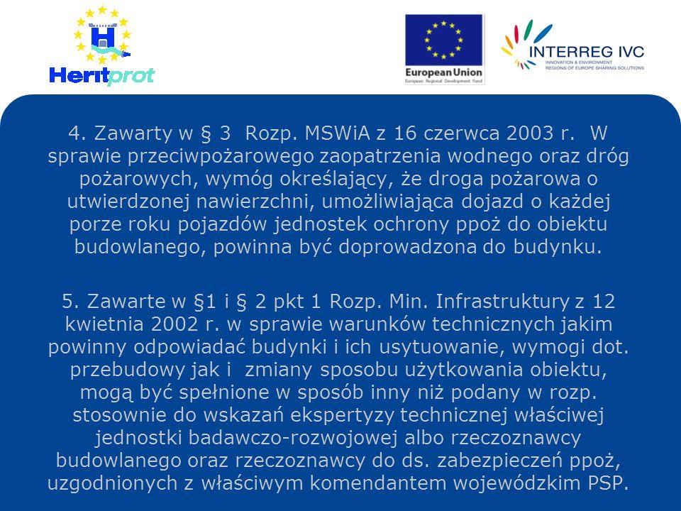 4. Zawarty w § 3 Rozp. MSWiA z 16 czerwca 2003 r. W sprawie przeciwpożarowego zaopatrzenia wodnego oraz dróg pożarowych, wymóg określający, że droga p