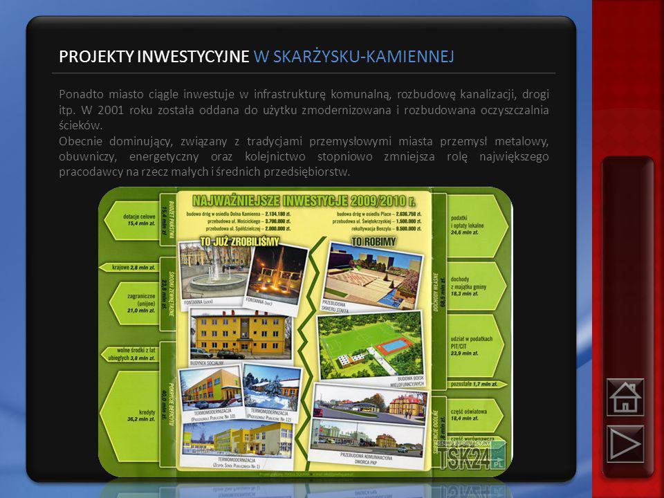 PROJEKTY INWESTYCYJNE W SKARŻYSKU-KAMIENNEJ Ponadto miasto ciągle inwestuje w infrastrukturę komunalną, rozbudowę kanalizacji, drogi itp.