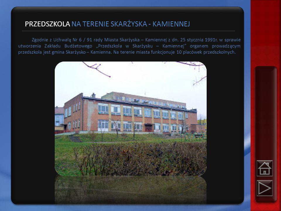 PRZEDSZKOLA NA TERENIE SKARŻYSKA - KAMIENNEJ Zgodnie z Uchwałą Nr 6 / 91 rady Miasta Skarżyska – Kamiennej z dn.