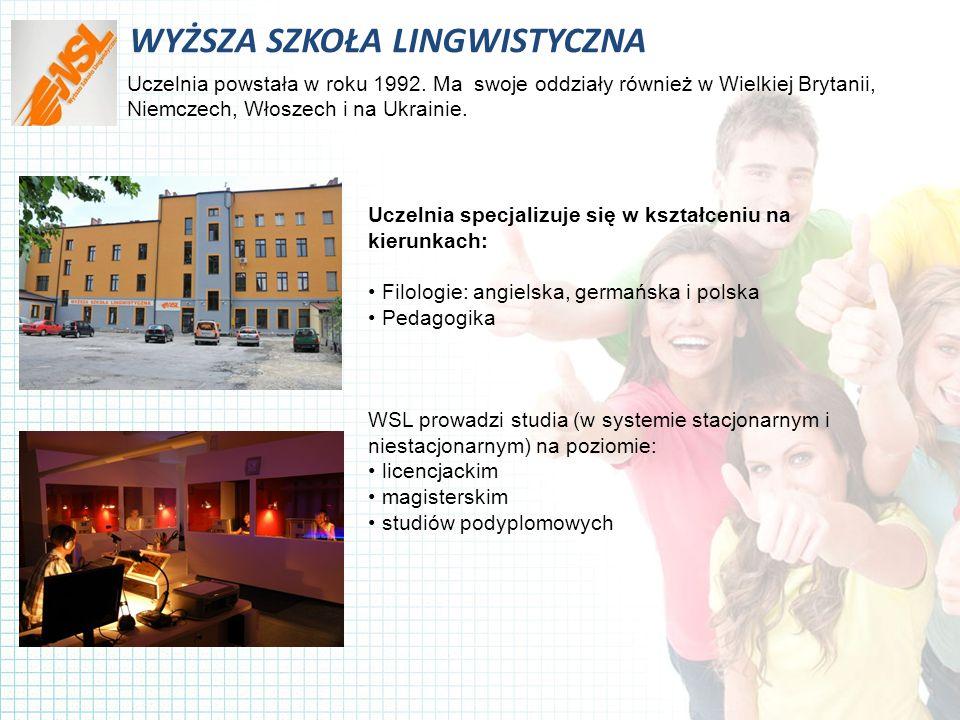 WYŻSZA SZKOŁA LINGWISTYCZNA Uczelnia powstała w roku 1992.