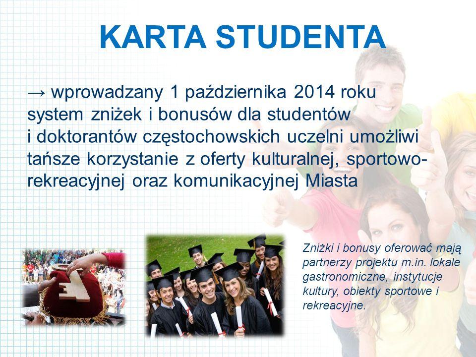 KARTA STUDENTA → wprowadzany 1 października 2014 roku system zniżek i bonusów dla studentów i doktorantów częstochowskich uczelni umożliwi tańsze korzystanie z oferty kulturalnej, sportowo- rekreacyjnej oraz komunikacyjnej Miasta Zniżki i bonusy oferować mają partnerzy projektu m.in.