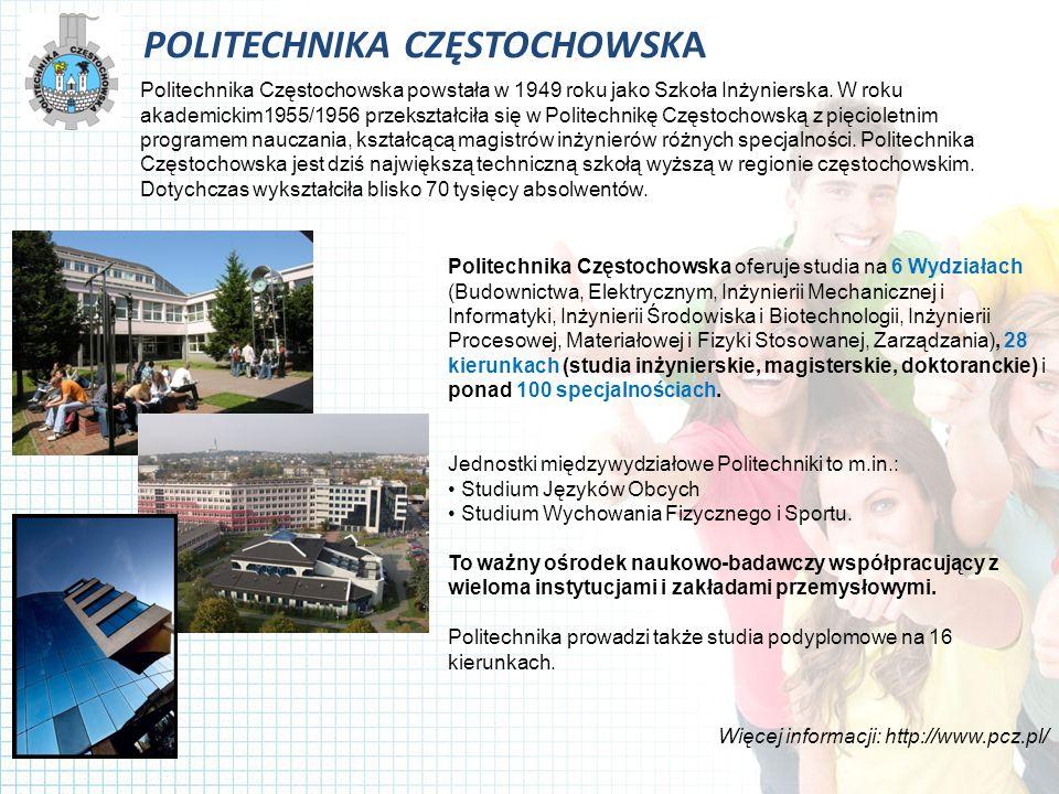 POLITECHNIKA CZĘSTOCHOWSKA Politechnika Częstochowska powstała w 1949 roku jako Szkoła Inżynierska.