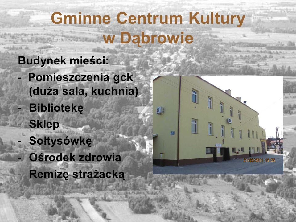 Gminne Centrum Kultury w Dąbrowie Budynek mieści: - Pomieszczenia gck (duża sala, kuchnia) -Bibliotekę -Sklep -Sołtysówkę -Ośrodek zdrowia -Remizę str