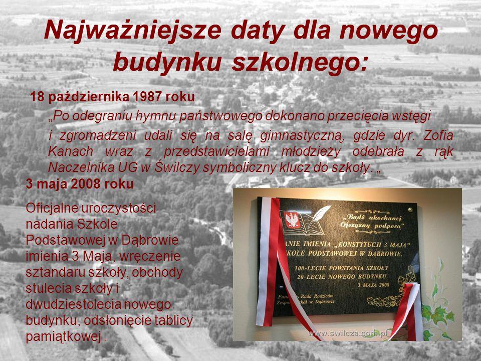 """Najważniejsze daty dla nowego budynku szkolnego: 18 października 1987 roku """"Po odegraniu hymnu państwowego dokonano przecięcia wstęgi i zgromadzeni ud"""