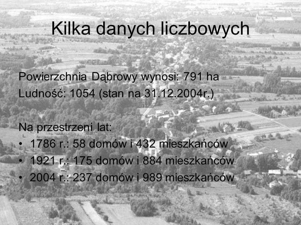 Kilka danych liczbowych Powierzchnia Dąbrowy wynosi: 791 ha Ludność: 1054 (stan na 31.12.2004r.) Na przestrzeni lat: 1786 r.: 58 domów i 432 mieszkańc