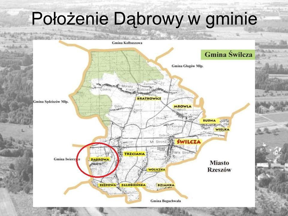 Położenie Dąbrowy w gminie