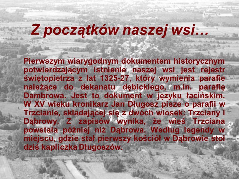Z początków naszej wsi… Pierwszym wiarygodnym dokumentem historycznym potwierdzającym istnienie naszej wsi jest rejestr świętopietrza z lat 1325-27, k