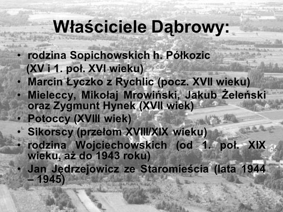 Kilka ważniejszych dat z okresu powojennego 1947- wieś Dąbrowa otrzymała budynek dworski na szkołę 1955- budowa domu ludowego 1957- do naszej wsi została doprowadzona sieć elektryczna 1969- została wybudowana pierwsza droga asfaltowa 1971- do wsi został doprowadzony gaz ziemny 1971- zaczął kursować pierwszy autobus 1979- oddano do użytku wodociąg 1983-87- budowa ośmioklasowej szkoły podstawowej 1984- rozbudowa domu ludowego i remizy strażackiej 1986- budowa kościoła parafialnego 1987- powstanie parafii w Dąbrowie 1987- w budynku Domu ludowego została otwarta biblioteka wiejska 1988- został ogrodzony i poświęcony plac cmentarza 1992- został otwarty punkt lekarski 1993- wieś została przyłączona do sieci telefonicznej 1995- rozpoczęto budowę sieci kanalizacyjnej