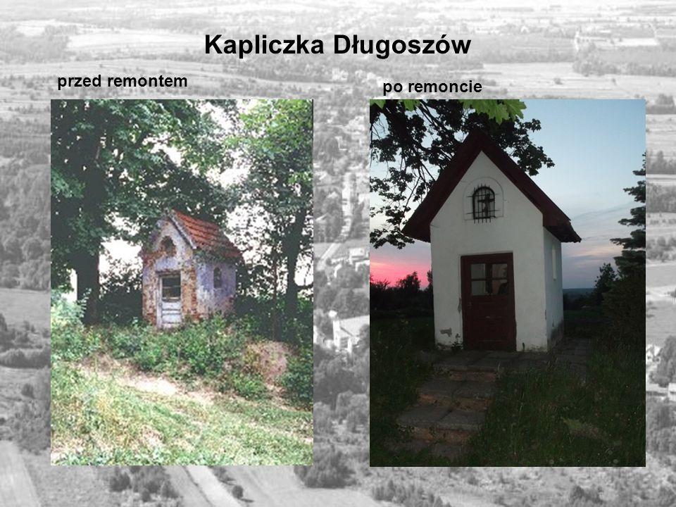 Kapliczka Długoszów przed remontem po remoncie