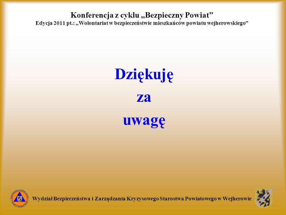 """Konferencja z cyklu """"Bezpieczny Powiat"""" Edycja 2011 pt.: """"Wolontariat w bezpieczeństwie mieszkańców powiatu wejherowskiego"""" Wydział Bezpieczeństwa i Z"""