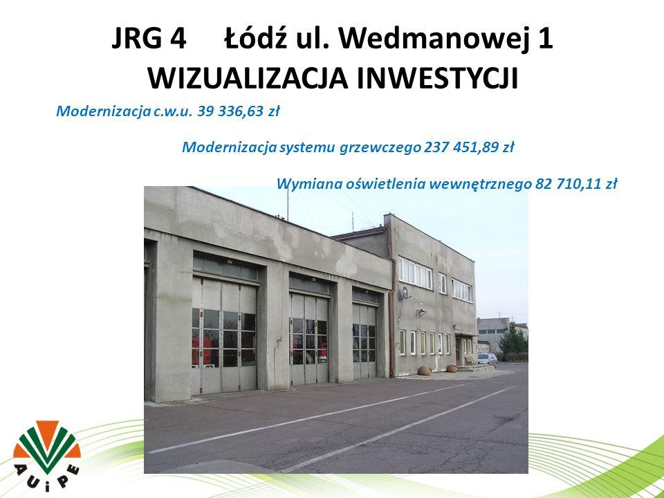 JRG 4 Łódź ul. Wedmanowej 1 WIZUALIZACJA INWESTYCJI Modernizacja c.w.u. 39 336,63 zł Modernizacja systemu grzewczego 237 451,89 zł Wymiana oświetlenia