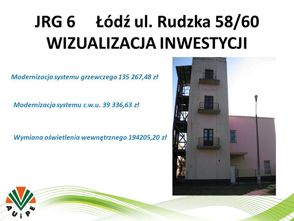 JRG 6 Łódź ul. Rudzka 58/60 WIZUALIZACJA INWESTYCJI Modernizacja systemu grzewczego 135 267,48 zł Modernizacja systemu c.w.u. 39 336,63 zł Wymiana ośw