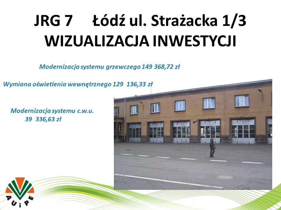 JRG 7 Łódź ul. Strażacka 1/3 WIZUALIZACJA INWESTYCJI Modernizacja systemu grzewczego 149 368,72 zł Wymiana oświetlenia wewnętrznego 129 136,33 zł Mode