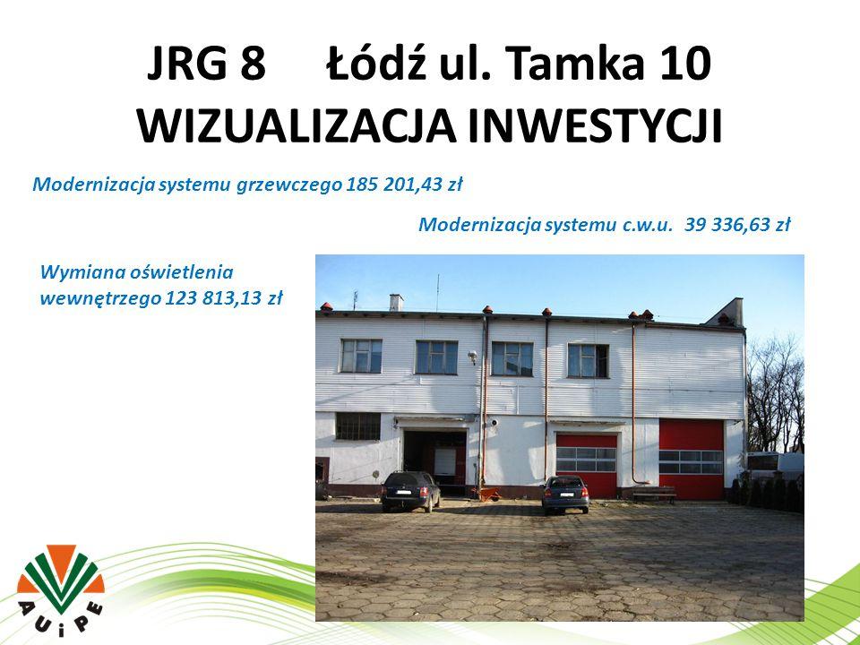 JRG 8 Łódź ul. Tamka 10 WIZUALIZACJA INWESTYCJI Modernizacja systemu grzewczego 185 201,43 zł Modernizacja systemu c.w.u. 39 336,63 zł Wymiana oświetl