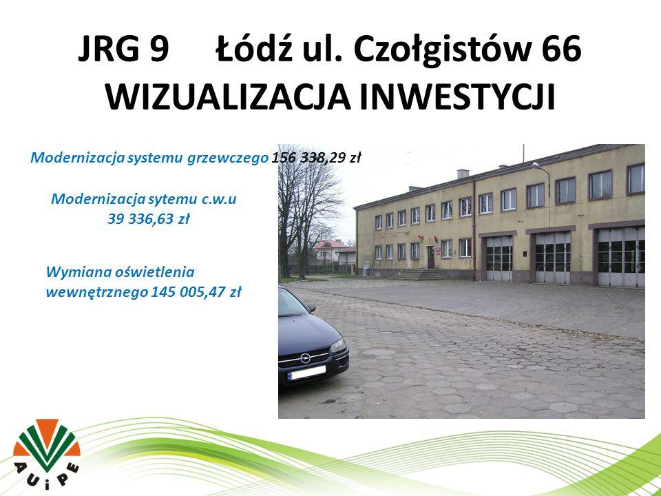 JRG 9 Łódź ul. Czołgistów 66 WIZUALIZACJA INWESTYCJI Modernizacja systemu grzewczego 156 338,29 zł Modernizacja sytemu c.w.u 39 336,63 zł Wymiana oświ
