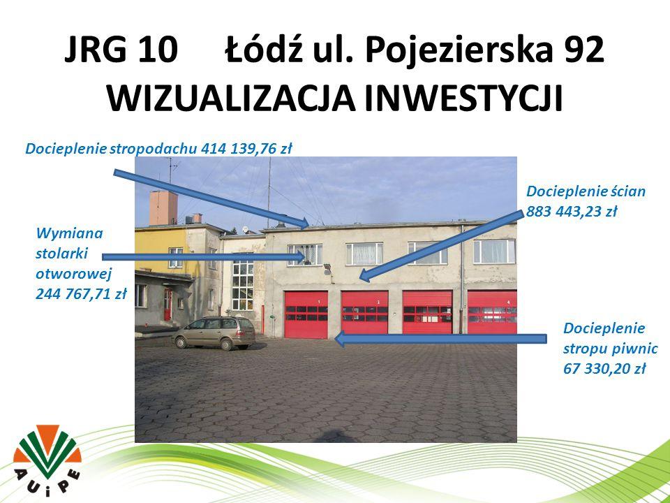 JRG 10 Łódź ul. Pojezierska 92 WIZUALIZACJA INWESTYCJI Docieplenie stropodachu 414 139,76 zł Wymiana stolarki otworowej 244 767,71 zł Docieplenie ścia