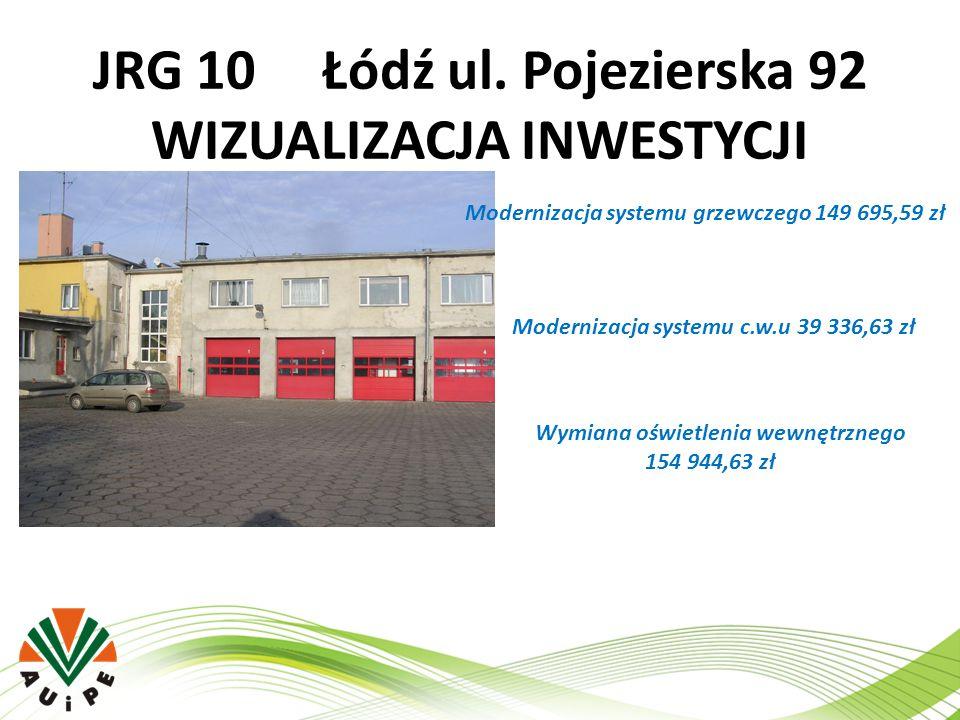 JRG 10 Łódź ul. Pojezierska 92 WIZUALIZACJA INWESTYCJI Modernizacja systemu grzewczego 149 695,59 zł Modernizacja systemu c.w.u 39 336,63 zł Wymiana o