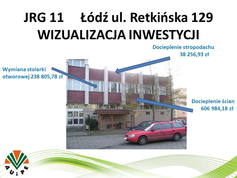 JRG 11 Łódź ul. Retkińska 129 WIZUALIZACJA INWESTYCJI Wymiana stolarki otworowej 238 805,78 zł Docieplenie stropodachu 38 256,93 zł Docieplenie ścian