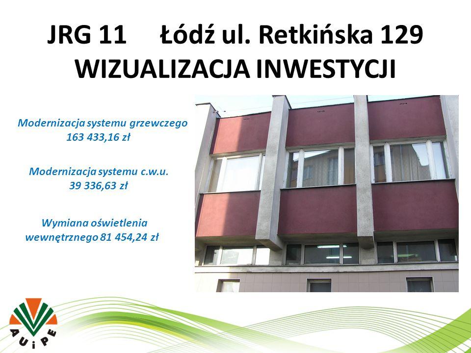 JRG 11 Łódź ul. Retkińska 129 WIZUALIZACJA INWESTYCJI Modernizacja systemu grzewczego 163 433,16 zł Modernizacja systemu c.w.u. 39 336,63 zł Wymiana o