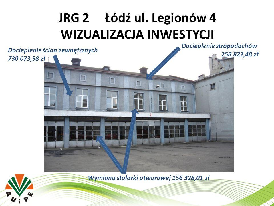 JRG 2 Łódź ul. Legionów 4 WIZUALIZACJA INWESTYCJI Wymiana stolarki otworowej 156 328,01 zł Docieplenie ścian zewnętrznych 730 073,58 zł Docieplenie st