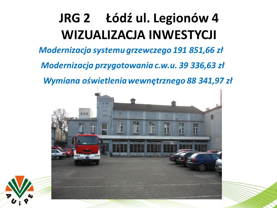 JRG 2 Łódź ul. Legionów 4 WIZUALIZACJA INWESTYCJI Modernizacja systemu grzewczego 191 851,66 zł Modernizacja przygotowania c.w.u. 39 336,63 zł Wymiana