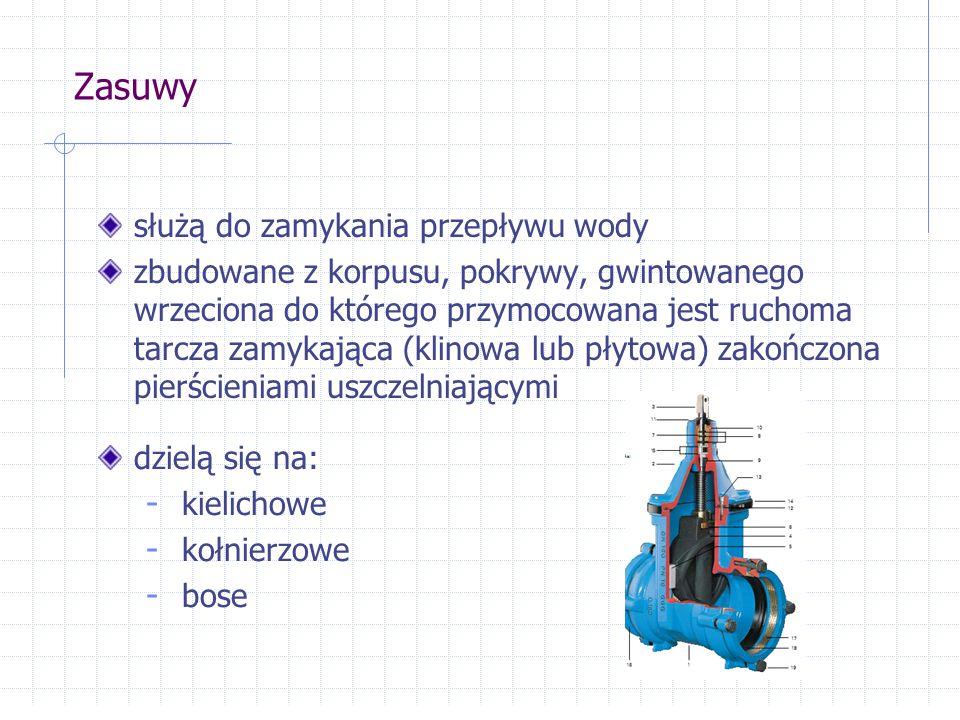 Zasuwy służą do zamykania przepływu wody zbudowane z korpusu, pokrywy, gwintowanego wrzeciona do którego przymocowana jest ruchoma tarcza zamykająca (