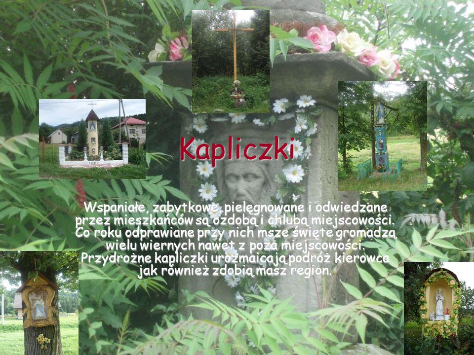 Kapliczki Wspaniałe, zabytkowe, pielęgnowane i odwiedzane przez mieszkańców są ozdobą i chlubą miejscowości.
