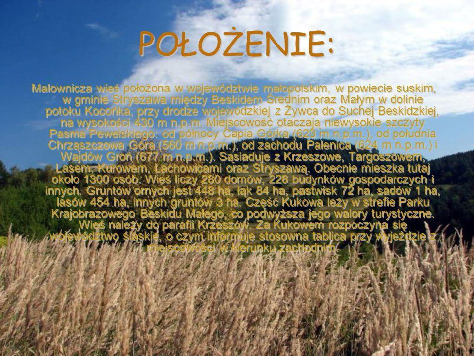 POŁOŻENIE: Malownicza wieś położona w województwie małopolskim, w powiecie suskim, w gminie Stryszawa między Beskidem Średnim oraz Małym w dolinie pot