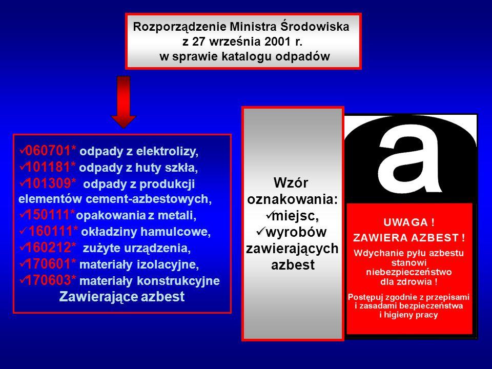 Rozporządzenie Ministra Środowiska z 27 września 2001 r. w sprawie katalogu odpadów h 1 = 40% H H h 2 = 60% H Wzór oznakowania:, miejsc, wyrobów zawie