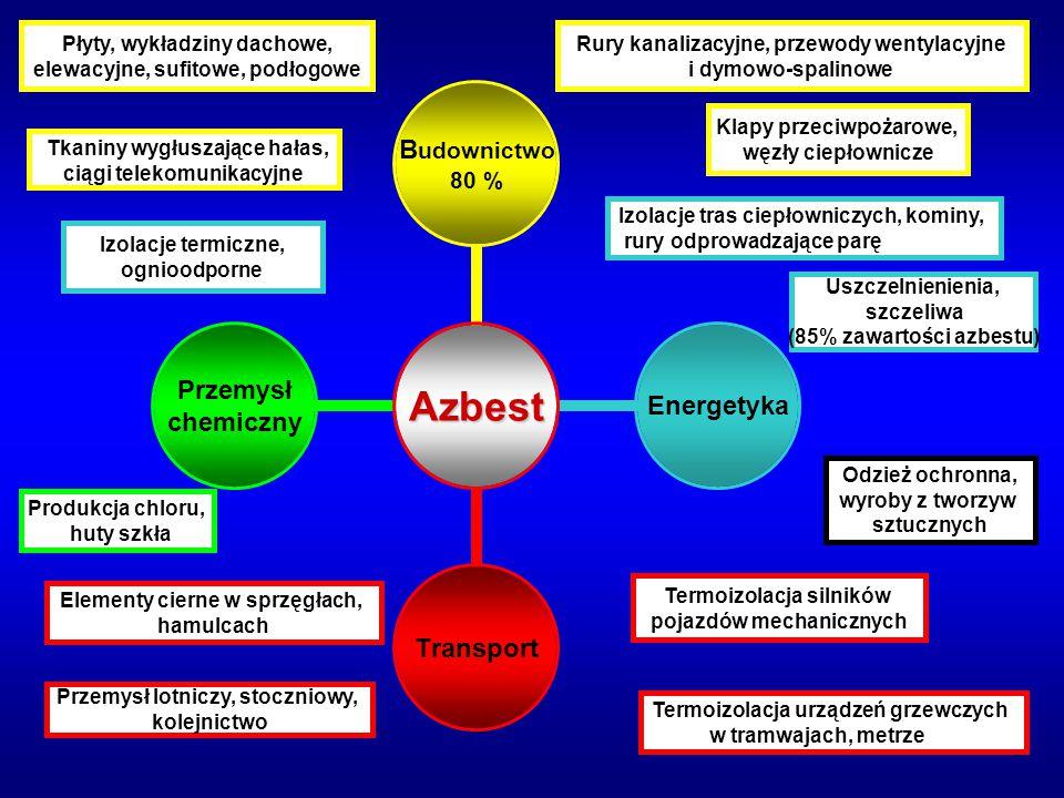 Azbest Budownictwo 80 % EnergetykaTransport Przemysł chemiczny Tkaniny wygłuszające hałas, ciągi telekomunikacyjne Izolacje tras ciepłowniczych, komin