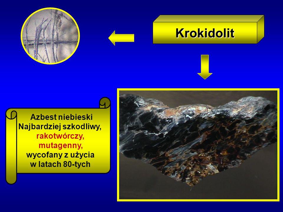 Krokidolit Azbest niebieski Najbardziej szkodliwy, rakotwórczy, mutagenny, wycofany z użycia w latach 80-tych