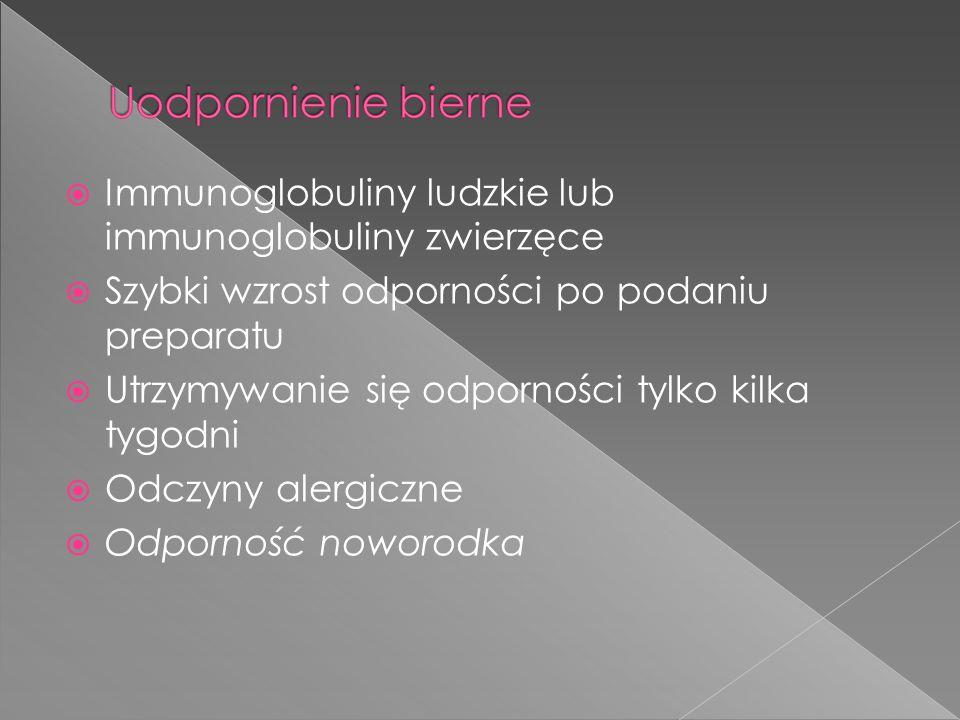  Immunoglobuliny ludzkie lub immunoglobuliny zwierzęce  Szybki wzrost odporności po podaniu preparatu  Utrzymywanie się odporności tylko kilka tygodni  Odczyny alergiczne  Odporność noworodka