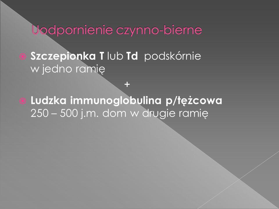  Szczepionka T lub Td podskórnie w jedno ramię +  Ludzka immunoglobulina p/tężcowa 250 – 500 j.m. dom w drugie ramię